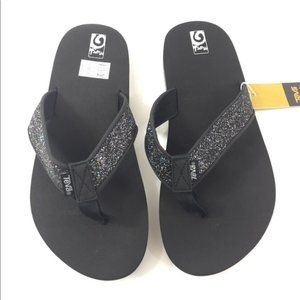 Teva Mush 7 Juniors Big Girl Glitter Black Sandals